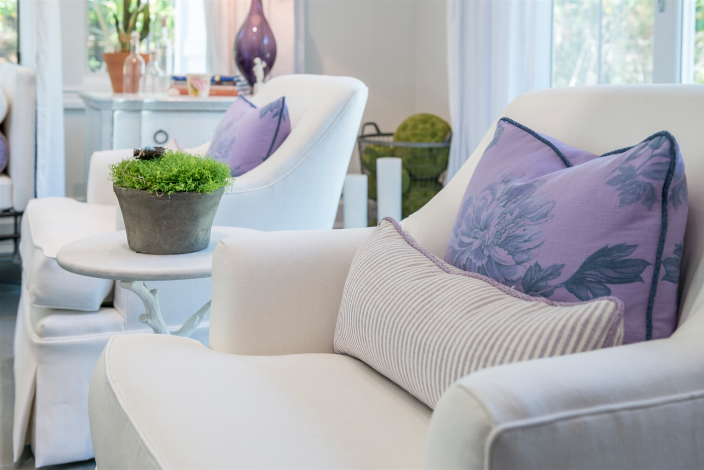 Hamptons Chairs Purple Pillows